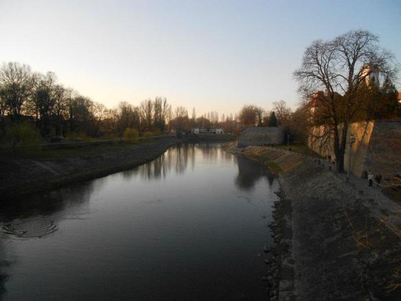 The Raba River at Sunset - Just beyond the City Walls of Gyor