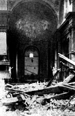 Bomb damage inside Szombathely Cathedral