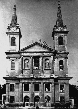 Szombathely Cathedral - after the bombing