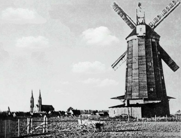 The Way It Used To Be - Windmill in Schirwindt with Immanuel Church in the distance