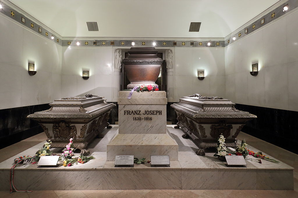 Imperial Crypt - Crown Prince Rudolf's coffin lies to the right of his parents' coffins
