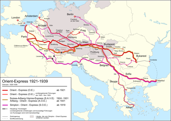 Route of the Orient Express Trains from 1921 to 1939