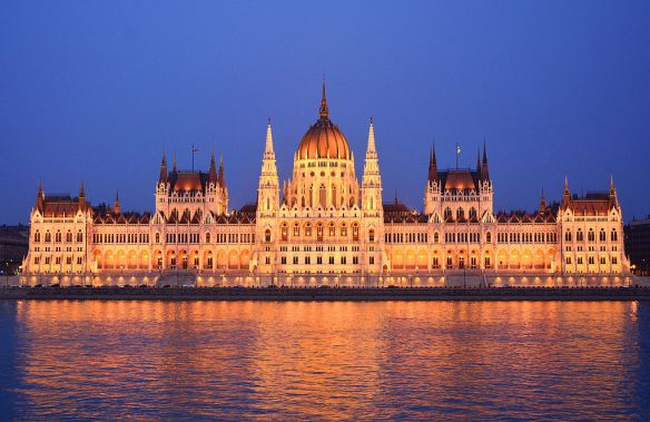Hungarian Parliament Building - As seen from the bank of the Danube in Budapest