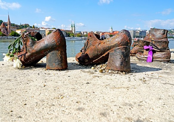 Close up of the Shoes of The Danube Bank Memorial