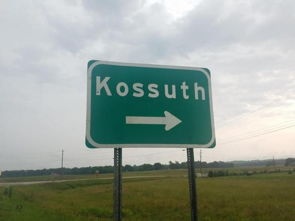 Kossuth, Mississippi - Sign along U.S. Route 72