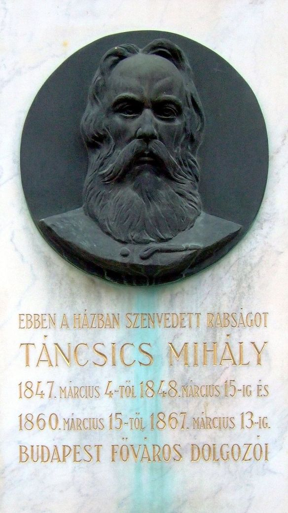 Memorial plaque to Mihaly Tancsics on the Joszef Barracks where he was imprisoned