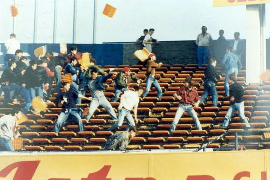 Taking A Seat - Fans fighting in the stands at the 1990 Dinamo Zagreb-Red Star Belgrade match