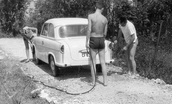 The good old days - A family washes their Trabant