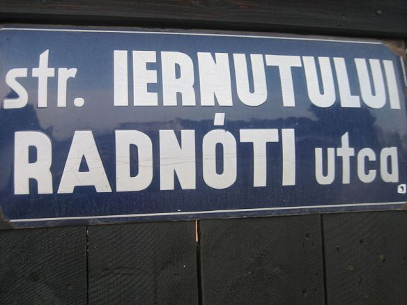 Bilingual street sign in Targu Mures (Marosvasarhely)