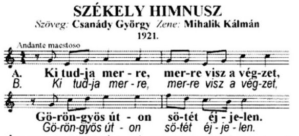 Opening Lines of the Szekely Himnusz