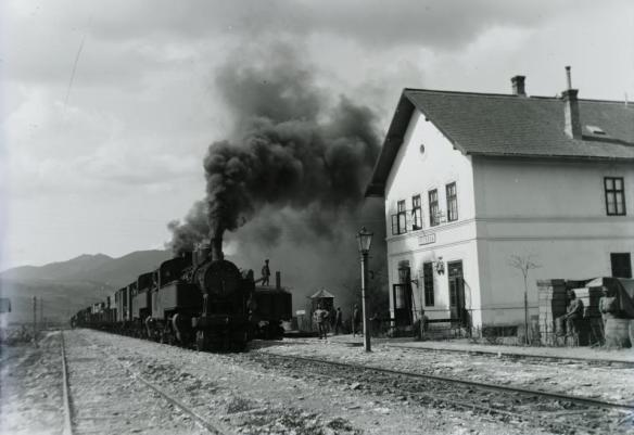 Riding the rails - Train at station in Transylvania