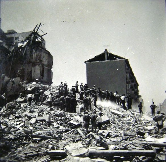 A mountain of rubble - Skopje post-earthquake in 1963