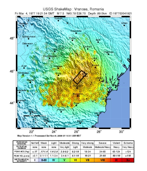 Epicentered - Region affected by the 1977 Vrancea Earthquake