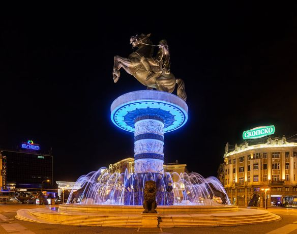 Monumental movement - Alexander the Great statue in Skopje