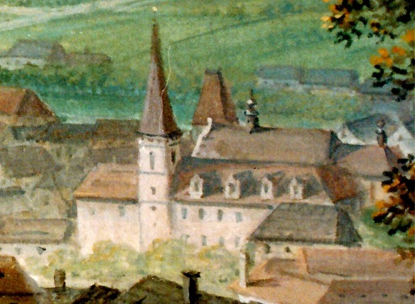 Historic painting of the Minorite Monastery in Cesky Krumlov - Within the walls are buried the bones of Don Julius Caesar d'Austria
