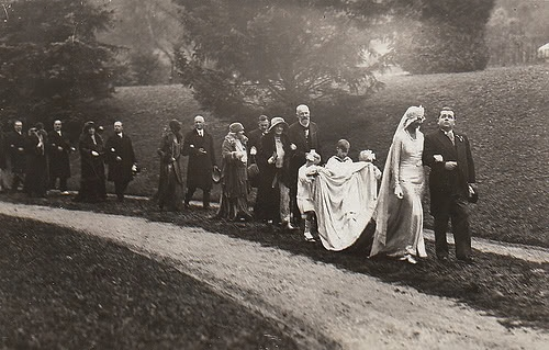 Family Remains - Adolph & Hilda Schwarzenberg leading a procession on their wedding day in 1930