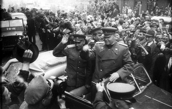 Liberation by Occupation - Soviet Marshal Ivan Konev entering Prague at the end of World War II
