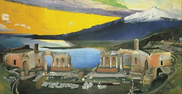 Ruins of Greek Theatre at Taormina - Csontvary