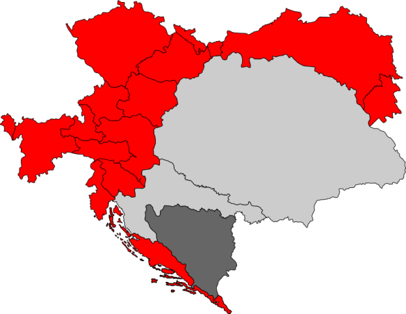 Cisleithania - Austrian ruled lands in red and dark gray/Hungarian ruled lands in light gray