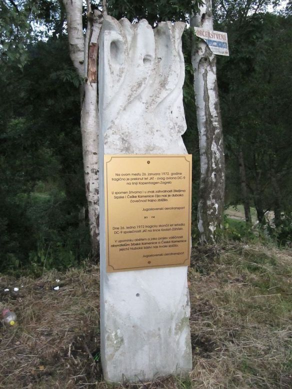Memorial to A Tragedy & A Miracle - The Monument in Srbská Kamenice to JAT Flight 367