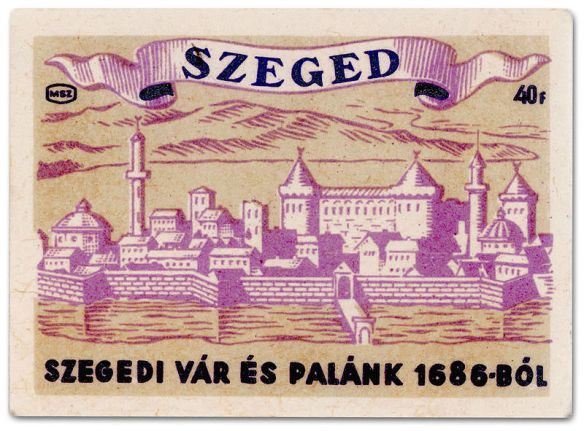Up In Flames - 1950's Matchbook Cover of Old Szeged