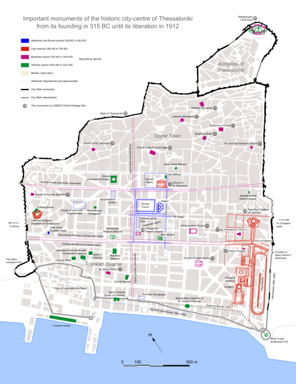 Walled in - Thessaloniki with outline of the City Walls
