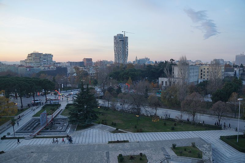 Nothing to see here - View of Tirana from the top of the Pyramid