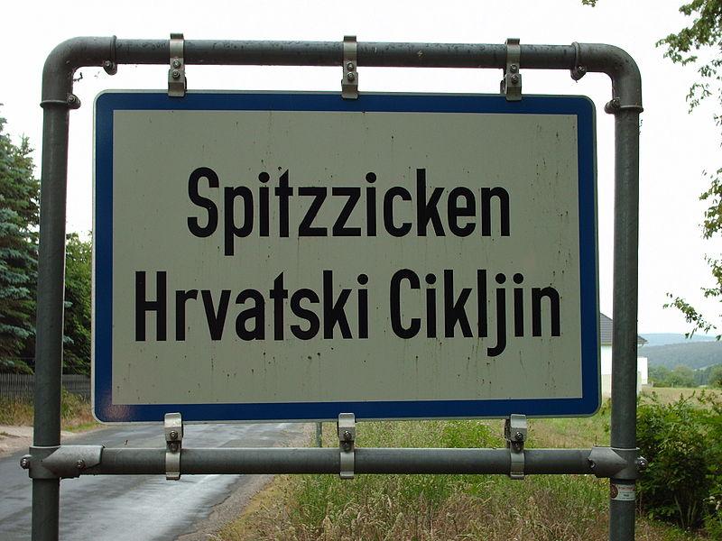 Mixed Loyalties - Bilingual (German-Croatian) sign in Burgenland village