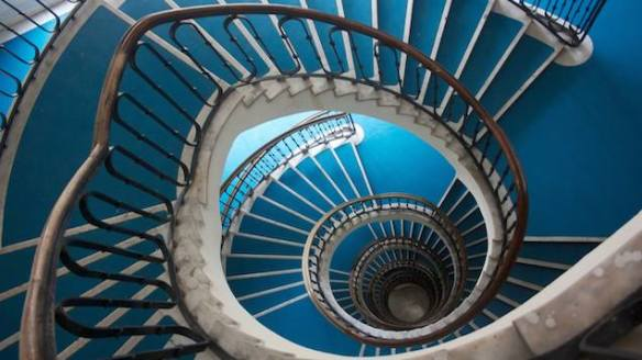 Sliding down the surface of things - Spiral staircase in Budapest